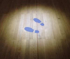 The outline of two footsteps